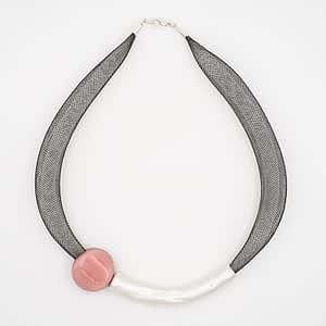 collar barroque rosa plateado de arriba