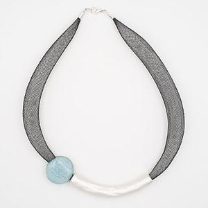 collar barroque azul claro plateado de arriba